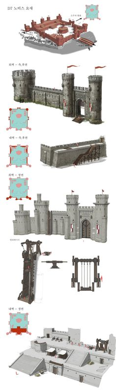 Fortress 2012 by Jongmin Ahn on ArtStation. Chateau Medieval, Medieval Castle, Medieval Fantasy, Medieval Fortress, Historical Architecture, Art And Architecture, Castle Floor Plan, Rpg Map, Building Concept