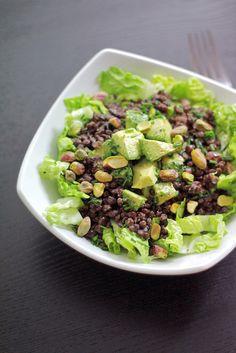 Avocado,  Black lentils,  Toasted Pistachios,  Lettuce,  Chives,  Balsamic Vinegar,  Extra virgin olive oil,  Salt and pepper.