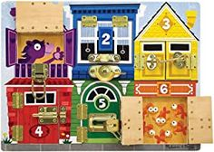 Melissa & Doug Wooden Latches Board (Developmental Toy, Sturdy Wooden Construction, Helps Develop Fine Motor Skills, Great Gift for Girls and Boys - Best for 5 Year Olds and Up) Learning Colors, Learning Toys, Toddler Activity Board, Latch Board, Christmas Stocking Fillers, Busy Board, Developmental Toys, Melissa & Doug, Building For Kids