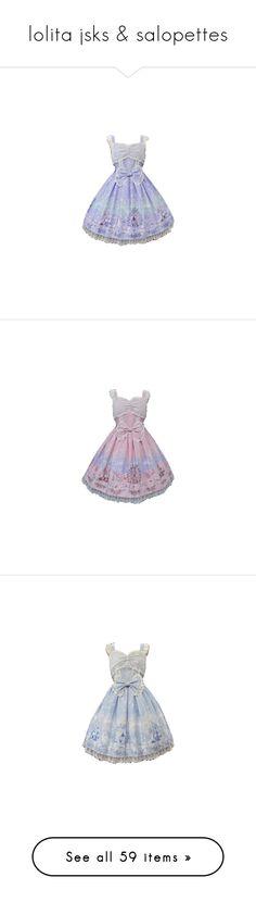 """lolita jsks & salopettes"" by pastel-dream-hime ❤ liked on Polyvore featuring dresses, lolita, lolita jsk, jsk, angelic pretty, lolita op/jsk, skirts, frilly skirt, dot skirt and flouncy skirt"