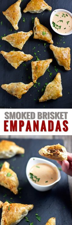 Smoked Brisket Empanadas. An incredible use for leftover smoked brisket and awesome appetizer idea for the holidays. Smoked brisket, sautéed vegetables, herbs and spices rolled in puffed pastry dough, and served creamy crème fraîche BBQ dipping sauce. So so good.