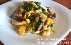 Cartofi mov, ciuperci Shimeji, și brânzeturi – la cuptor Meatless Recipes, Japchae, Chicken, Ethnic Recipes, Food, Eten, Meals