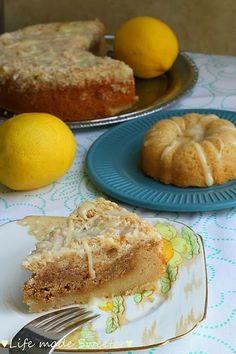 Lighter Lemon Coconut Streusel Coffee Cake - A coffee cake that's topped with toasted coconuts and a lemony cream cheese glaze.  Packed with a nice punch of lemon which is balanced out by the brown sugar streusel filling.  Made with coconut oil and only 2 tablespoons of butter, this coffee cake is lighter than your typical coffee cake. @LifeMadeSweeter