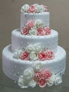 we're always ready to design and make your colourful with our beautiful touch. Amazing Wedding Cakes, White Wedding Cakes, Elegant Wedding Cakes, Wedding Cake Designs, Amazing Cakes, Gorgeous Cakes, Pretty Cakes, Cute Cakes, Bolo Fake Eva