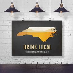 North Carolina Beer Print Map - NC Drink Local Craft Beer Sign - Boyfriend Gift, Fathers Day, Beer Gift, Beer Art, Raleigh,Charlotte Poster