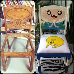 Antique Chair Upcycled With Adventure Time Theme