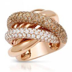 4.26 Carats brown & white diamonds engagement ring rose gold 14k