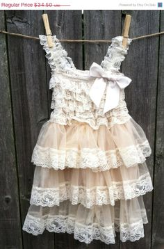 ON SALE Rustic Flower Girl Lace Pettidress/Rustic Flower Girl Outfit/Wheat Cream Flowergirl/Country Wedding nd