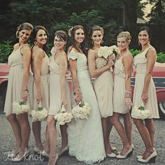 Blush and Nude Bridesmaid Dresses - I do like these neutral colors....