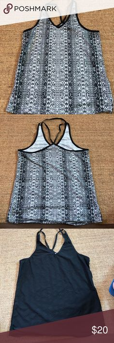Athleta running shirts Black & black/white design running shirts with holes to help natural cooling off. All 3 for $20 Athleta Tops Tank Tops