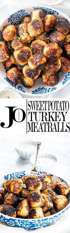 These Sweet Potato Turkey Meatballs Feature An Interesting Combination Of Ingredients That Gives You The Most Superb, Soft And Delicious Meatballs Served With A Creamy Maple Dipping Sauce. Ideal For An Appetizer And A Total Crowd Pleaser Via Jocooks Meatball Recipes, Turkey Recipes, Chicken Recipes, Dinner Recipes, Potato Recipes, Dinner Ideas, Tasty Meatballs, Turkey Meatballs, Parmesan Meatballs