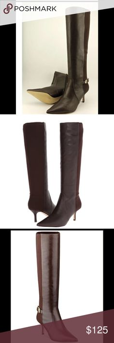"""IVANKA TRUMP TALL BOOTS Ivanka Trump sleek tall boots features leather upper and man made outsole with a pointed toe with side zipper adding an elegant addition to your outfit. Approx heel 3"""", 16"""" shaft and 14"""" circumference. Ivanka Trump Shoes Heeled Boots"""