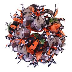 Halloween Pumpkin Wreath Tutorial at Trendy Tree....learn how to use a Pencil Wreath, Deco Poly Mesh, Paper Mesh, Ribbons and pumpkins to make this whimsical Halloween Wreath....more images and step by step instructions at http://www.trendytree.com/blog/halloween-wreath-tutorial-using-orange-vertical-line-mesh-and-black-white-paper-check/