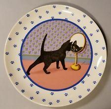 LOWELL HERRERO BLACK CAT KITTEN MIRROR COLLECTOR PLATE - MADE IN JAPAN - 1988