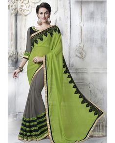 Green and grey half and half sari with thread embroidered pallu   1. Green and grey net faux chiffon half and half sari2. Golden embellished border3. Comes with matching unstitched blouse