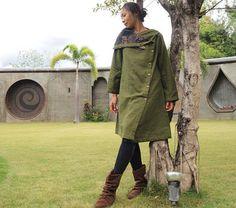 Être l'hiver... Manteau tunique en lin vert  S-L