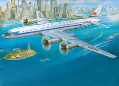 Airplane Passenger Airplanes Painting Art USA Flight New York City Tupolev Tu-114 Aviation Cities