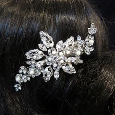 Vintage inspired Bridal hair accessories, Rhinestone wedding hair clip, Swarovski crystal and pearl hair clip, Bridal hair comb, Hair vine by TheExquisiteBride on Etsy https://www.etsy.com/listing/167980315/vintage-inspired-bridal-hair-accessories