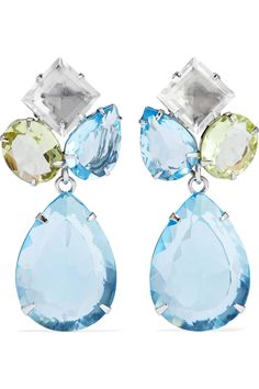 3ef9c5df1 Gold-tone, turquoise and quartz earrings | BOUNKIT | Sale up to 70% off