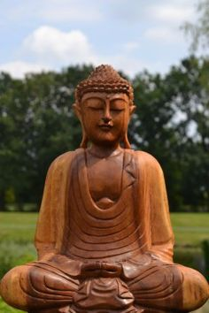 Boeddhabeeld Hout Meditatie 42 cm