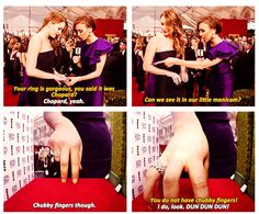 Jennifer Lawrence = HILARIOUS! Go chubby fingers!