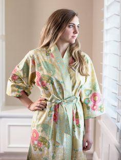 3bb747c3ca Womens Robe Kimono Mid calf Cotton Dressing gown Bathrobe Maternity  Hospital gown Plus sizes + Petite Floral BTQ Soft Yellow Coral