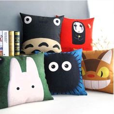 These comfy throw pillows are absolutely ideal for spreading over any Totoro fan's bed or sofa. The throw pillows are available in your favorite characters and critters, along with No Face thrown in for good measure.