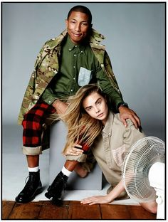 Snapshot: Pharrell Williams and Cara Delevingne by David Bailey for Vogue UK September 2013 Vogue Uk, Vogue Photo, Pharrell Williams, Cara Delevingne, David Bailey, Fashion Shoot, Editorial Fashion, Fashion Models, Men's Fashion