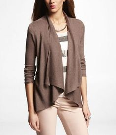 CASCADING OPEN FRONT RIBBED COVER-UP SWEATER at Express
