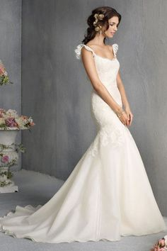 Sexy Wedding Dresses Straps Open Back Mermaid/Trumpet Organza&Lace Court Train