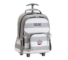 Fairfax Rolling Backpack Stripe Gray/White with Navy Trim Kitty