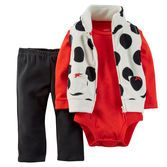 She'll look festive in bold black and white polka dots over red pointelle. Fuzzy fleece pants and a velboa-lined collar will keep her cozy, too!<br>
