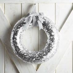 Silver & White Sequined Mermaid Wreath