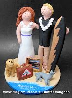 video of beach destination wedding cake toppers  by http//:blog.magiccmud.com 1 800 231 9814  .....Surf's up for beach lovers about to wed!!.....no need to apply too much sunscreen, coconut oil, or dark sunglasses to view ... customize your own personalized matrimonial figurine... $235 #beach#destination#palm_trees#ocean#surf#destination_wedding#wedding #cake #toppers  #custom #personalized #Groom #bride #anniversary #birthday#wedding_cake_toppers#cake_toppers#figurine#gift