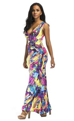New Plus Size Sleeveless Long Dress with Back Neck Tie in 017a5add23b6