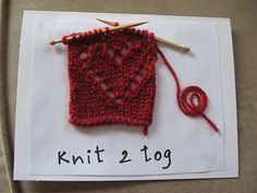 Knit two together. Hand Made Greeting Cards, Making Greeting Cards, Diy Cards, Handmade Cards, Crochet Toys, Knit Crochet, Knitted Heart, Knitting Ideas, Designing Women