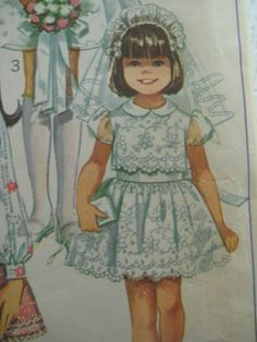 Vintage Simplicity 8171 FIRST COMMUNION DRESS Sewing Pattern Girl PUFF SLEEVES