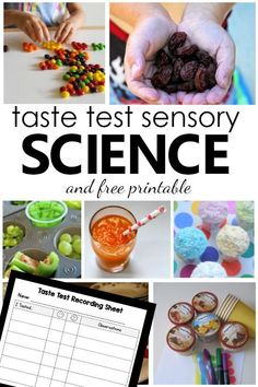 Learn about the five senses and investigate different foods with these creative taste test science experiments and free printable recording sheet for kids. Early Learning Activities, Preschool Science Activities, Fun Learning, Activities For Kids, Preschool Themes, Cool Science Experiments, Science Chemistry, Physical Science, Science Education