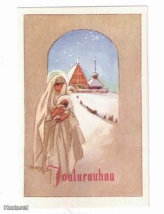 Martta Wendelin Very Merry Christmas, Vintage Illustrations, Vintage Christmas Cards, Visual Arts, Tis The Season, Storyboard, Finland, Madonna, Martini