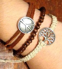 Tree of life peace leather and hemp bracelet set FREE SHIPPING on Etsy, $12.00