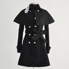 Fashion Solid Color Double-breasted Cape-style Woolen Coat with Sash