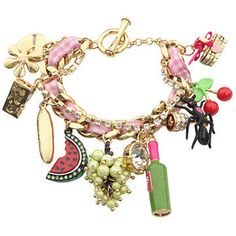 Betsey Johnson~ I adore this! Charm Jewelry, Jewelry Box, Jewelry Accessories, Fashion Accessories, Jewelry Necklaces, Women Jewelry, Charm Bracelets, Bracelet Charms, Necklace Ideas