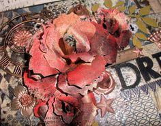 Brand new large Tim Holtz Tattered Florals rose...