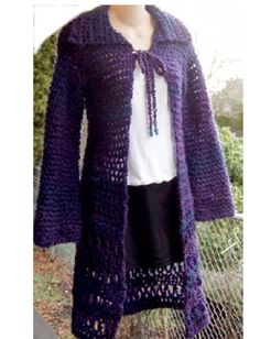 Long Cardigan Sweater Homespun Yarn Crochet Pattern by dianelangan, $5.00