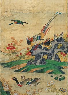 Birds and Flowers     Joseon Dynasty     19th century  From the Hoam Art Museum.