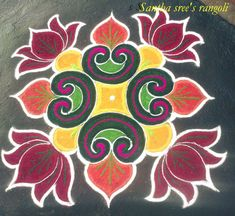 New flowers painting acrylic simple beautiful ideas Simple Rangoli Kolam, Lotus Rangoli, Rangoli Borders, Rangoli Patterns, Free Hand Rangoli, Rangoli Ideas, Kolam Rangoli, Flower Rangoli, Indian Rangoli Designs