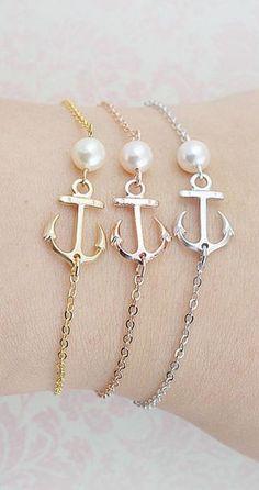 Anchor Bracelet with Swarovski Pearl