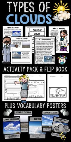 Your students will love learning about 4 types of clouds and creating a flip-up booklet! These are perfect for science centers too!