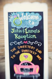 Reception welcome sign- I like the colored chalk