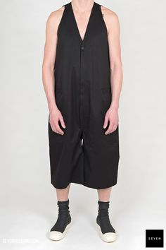 Woven jumpsuit DT 09 BLACK Cotton Rick Owens - Walrus - Made in Italy Model is wearing size He is chest Rick Owens, Jumpsuit, Rompers, Model, How To Wear, Cotton, Collection, Black, Dresses